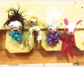 Creepy Cute Ornament, abstract art doll head, childlike decoration, gothic stocking stuffer, nightmare xmass, dark art sculpture