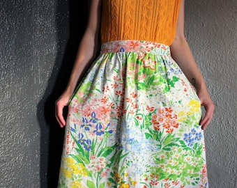 Vintage 50s Knee-Length Floral High Waist Circle Skirt L