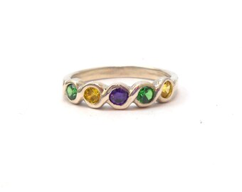 Mardi Gras Fat Tuesday New Orleans Sterling Silver Purple Amethyst Yellow Green Purple CZ Ring