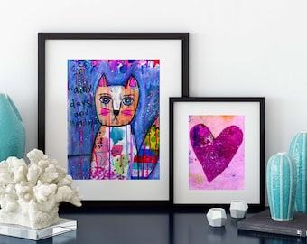 Rainy Days and Mondays Mixed Media Giclee Art Print Original Art Print 8x10 kitty cat fox