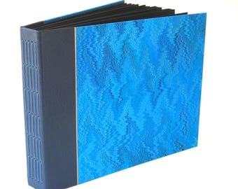 Photo Album Scrapbook - Leather and Hand-Marbled Paper