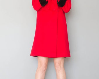 Vintage 1960's Cherry Red Wool Coat with Fur Collar & Cuffs