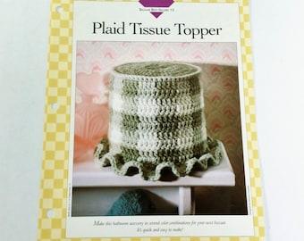 Crochet Pattern for Toilet Tissue Roll, Plaid Checker Design, Vanna's Afghan and Crochet Favorites 1996 Home Decor DIY Crochet Pattern