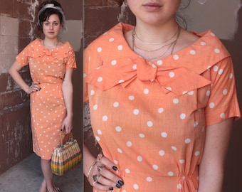 SALE Vintage 1950's Dress // 50s 60s Peachy Orange and White Polka Dot Cotton Wiggle Day Dress with Bow // Rockabilly Pin Up
