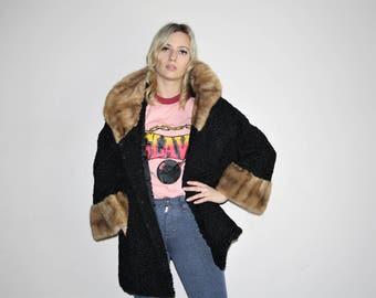 Persian Lamb 1960s Vintage Black Wool Mod Long Fur Collar and Cuff Coat - 1960s Fur Coats - 60s Clothing - WV0058