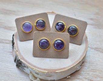 Gold Round Amethyst Bezel 12mm Stud Earrings/ Purple Amethyst Large Round Cabochon Gold Studs/ Natural Stone Gemstone Mineral Gem (GCC11-AM)