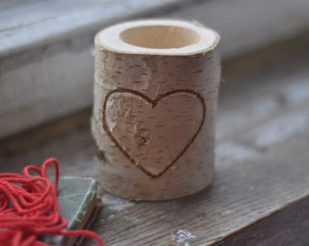 burned or/ carved  personalized birch candle holder  •  White Birch Candle Holder • Candle Holder