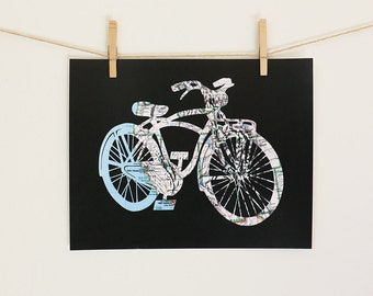 Bicycle Map Art // Road Atlas Bike Print // 11x14 Poster