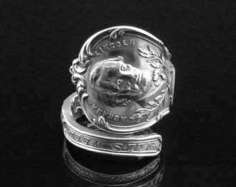 Ornate Abraham Lincoln Sterling Silver Spoon Ring, Presidental Souvenir Spoon
