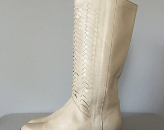 herringbone tall leather boots | 1970s pirate boots | 8.5