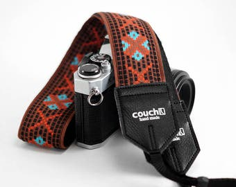The True Vintage Turquoise Coral and Clay Vintage Hippie Weave Limited Edition Camera Strap
