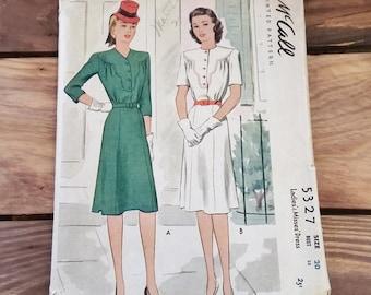 Vintage Pattern McCall 5327 Size 20 Bust 38 Ladies Dress 40's 50's Mid Century Fashion Sewing Ephemera Illustration