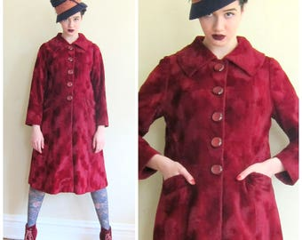 Vintage 1960s Velvet Coat in Burgundy / 60s Button Down Coat in Plum Wine Red / Small