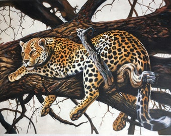 Leopard oil painting on canvas, nature, 24x32 inch, 100% money back guarantee