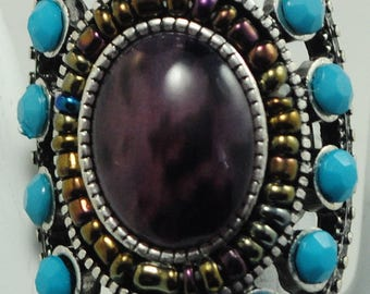 Boho Turquoise Statement Ring/Unique/Silver/Purple/Oval/Unisex/Spring Jewelry/unisex/Gift/Adjustable/Under 20USD