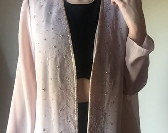 sheer mauve cover all beaded detail open cut shawl cardigan elegant cocktail event long sleeve pink dusty rose blouse large L XL medium M 12