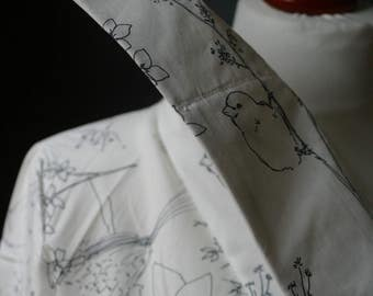 White Cotton Wrap Jacket/ High Collar Blouse by NervousWardrobe on Etsy