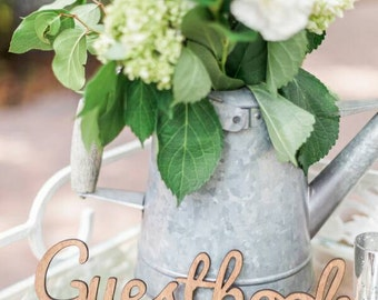 Guestbook Sign for Wedding or Party - Wooden Wedding Sign for Reception Decorations, Wooden Rustic Chic (Item - LGU100)