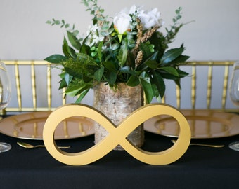 Wedding Sign for Sweetheart Table Decor, Freestanding Infinity Symbol Sign for Wedding Reception Centerpiece Gold Decor (Item - TIF100)
