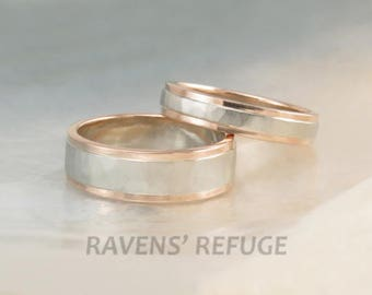 rose gold and white gold wedding band set -- hammered two tone wedding rings with step-down edges