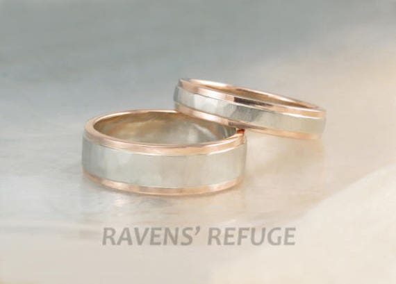 Description. Handmade Duo Tone Wedding Ring Set In 14k Recycled Gold