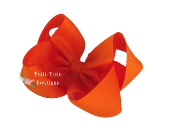 Orange Hair Bow, Girls Hair Bows, Orange Hair Clip, Hair Accessory, Toddler Hair Bows, Large Orange Bow, Halloween Hair Bow, Fall Hair Bow