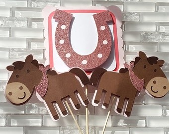 Pony and Horseshoe Centerpiece Set in Pink and Brown for Birthday or baby Shower