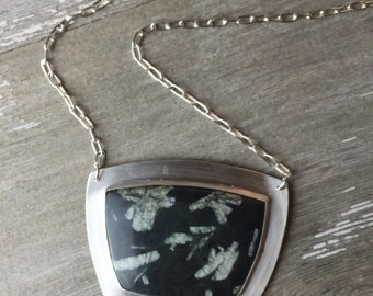 Chinese writing stone pendant, long chain statement necklace, sterling silver