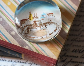 Vintage Souvenir Glass Paperweight North Africa Algiers