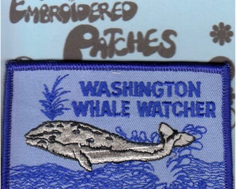WASHINGTON Whale Watcher Embroidered Square Travel Patch, Colorful, Souvenir, Promotional, Colorfast, Unused, Iron or Sew On, NOS, Trendy