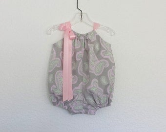 Baby Girls Grey Bubble Romper - Grey Sun Suit with Pink & Green Paislies - Baby Girl Clothes - Size NB, 3m, 6m, 9m, 12m or 18m