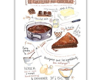 Chocolate cake recipe print, Kitchen art, Food artwork, Bakery print, Watercolor Home decor, Kitchen wall art, Illustrated recipe painting