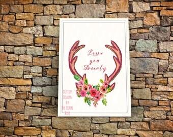 Love You Deerly. Digital File. Printable. Instant Download. Antler. Deer. Floral. Home Decor. Wall Art. Whimsical. Pink. Coral. Peach. Hunt