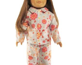 Blue funny monkey flannel doll pajamas fits 18 inch dolls like american girl