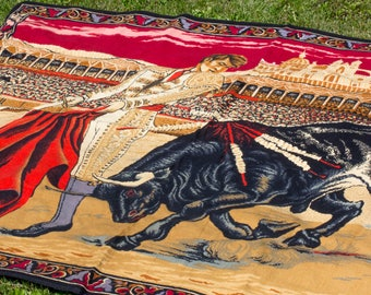 Vintage Bull and Matador Wall Hanging, 1970's 70s Home Decor, Bull Fighter, Red Black Gold, Spanish Retro