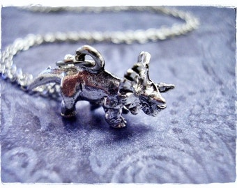 Silver Triceratops Necklace - Silver Pewter Triceratops Charm on a Delicate Silver Plated Cable Chain or Charm Only