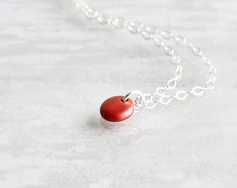 Dainty Red Coin Bead Pendant Necklace on Sterling Silver Chain