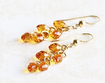Crystal Teardrop Earrings on 14K Gold Filled Hooks, Topaz Cluster Earrings, Fall Yellow Dangle Earrings, Autumn Jewelry