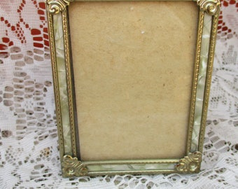 Ornate Antique Brass Smaller Size Gold Metal Mother of Pearl Victorian Look Easel Back Photo Picture Frame