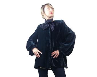 1940s Black Silk Velvet Evening Jacket XS/S