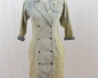 Vintage Acid Washed Dress, Trench Coat Dress, Size XS-Small, Sexy, Rad, Tumblr Clothing, Punk, Riot Girl, New Wave, 80's Clothing, Ideas