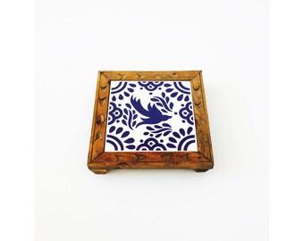 Vintage Blue and White Tile Trivet