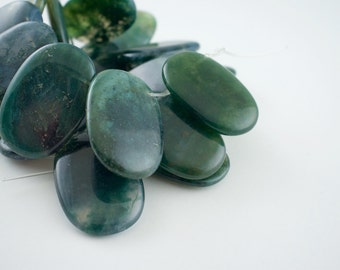 20x30mm Translucent Green Moss Agate Gemstone Lentil Beads - 15 inch strand - 21 pieces