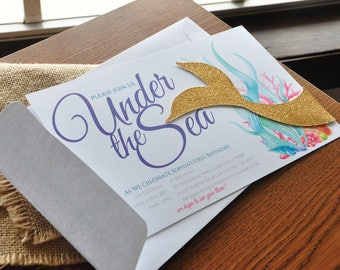 Under the Sea Invitations with Envelopes. We Print, Cut, Glue and Ship to You in 2-5 Business Days. Mermaid Tail Invitations.