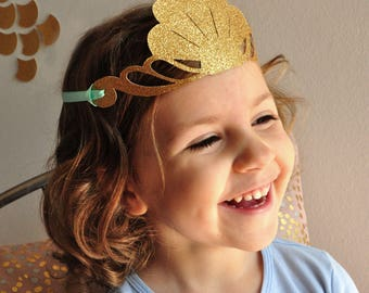 Mermaid Crown. Mermaid Party Favor. Handcrafted in 2-3 Business Days.  Glitter Gold Party Crown.