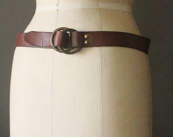 Vintage 70's Brown Leather Full Grain Cowhide Rustic Brass Loop Buckle Belt