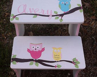 Hooty Owls Kids Steps & Stools Benches, Bathroom stool Custom Kids Furniture Nursery Personalized Home and Living