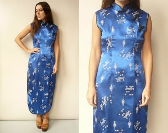 Vintage Oriental Cheongsam Chinese Satin Blue Floral Pattern Maxi Dress Size Small