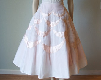 R e s e r v e d  / H o l d 1950s White Tulle Prom Party Dress with Pale Pink Satin Insets - Strapless with Crystal Pleats - Poofy Full Skirt