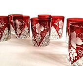 Bohemian Ruby Red Glass Barware 2 Small Red Glass Tumblers / Whiskey Glasses  / Liqueur Glasses / Stemless Wine Glasses